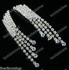 CLIP ON diamante CRYSTAL rhinestone 80s RETRO long GLAM DROP EARRINGS sparkly