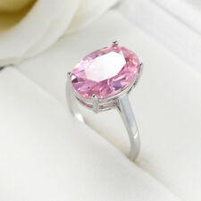 Newest Oval Cut Natural Pink Fire Topaz Gemstone Silver Woman Ring US Size 6-10