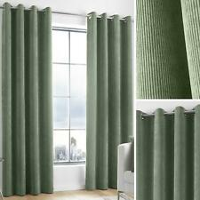 Green Eyelet Curtains Chenille Cord Plain Ready Made Lined Ring Top Curtain Pair
