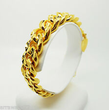 Men's 22K 23K 24K THAI BAHT YELLOW Gold Plated Bracelet 8.25 inch 77 Grams