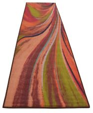 Abstract Rainbow Waves Slip Skid Resistant Rubber Backing Runner Rug 2'x7' 2by7