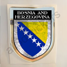 Bosnia Sticker Coat of Arms Resin Domed Stickers Flag Grunge 3D Adhesive Car