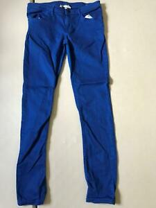 WOMENS ADIDAS NEO SIZE W26 L30 ROYAL BLUE CASUAL SKINNY FIT DENIM JEANS TROUSERS