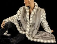 M RARE Checkered  soft mink fur coat gray grey mink sapphire patterned bright