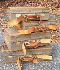 Vintage Hartmann Luggage Tweed Leather Suitcases Briefcase 4 Piece Props Decor