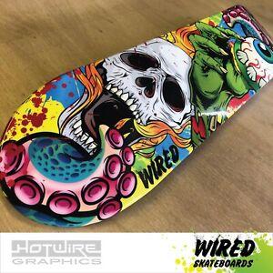 "WIRED(TM) Skateboard Deck 8""x 32""High Gloss Bones (Grip Tape Applied)"