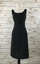 Anthropologie Tabitha Black Wool Blend Sleeveless Dress Size 2 Pinstripes