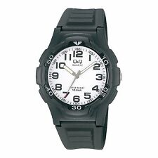 Q&Q VP84J001Y By Citizen Black Resin White Dial Analog Sport Number Round Watch