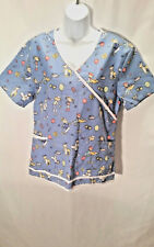 Royal Roy Women's Scrub Top Blue Multi-Colored Kids Balloons Tie Size Medium