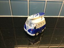Blue White Campervan VW Egg Cup & Salt Shaker Exc Cond Collectable Present Gift