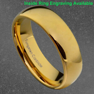 6mm Gold Plated Tungsten Men Women Wedding Band High Polish Dome Top Ring