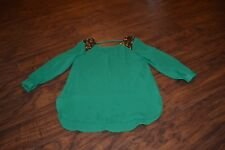 A9- Gb Girls Green Sequin Shoulder Top Size 6