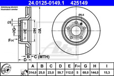 2x Bremsscheibe für Bremsanlage Vorderachse ATE 24.0125-0149.1