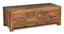 Cube Natural Sheesham Furniture 4 Drawer Coffee Table (c16n)