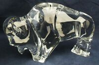 Stunning BACCARAT Crystal BISON BUFFALO BULL Figurine fully marked Baccarat