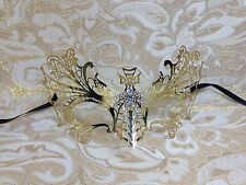 Gold Dragon Metal Laser Cut Venetian Masquerade Mask with Clear Stones