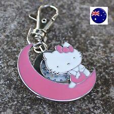 Kids Girl Lady Hello Kitty Bag Key Ring Keyrings Holder Pocket Watch badge