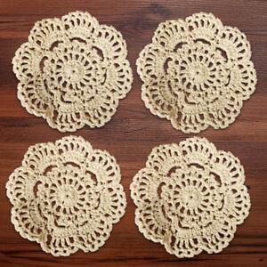 4Pcs/Lot Vintage Hand Crochet Lace Cotton Doilies Round Coasters Cup Mats 10cm