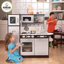 KidKraft Kids Wooden Uptown Espresso Kitchen Pretend Play Fridge Cooking 53260