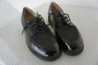 FINN COMFORT Cadiz Schuhe Schnürschuhe Einlagen Gr.8 / 42 Schwarz Lack Leder NEU