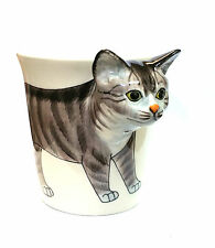 Cat Mug 3D head, Handpainted Ceramic Tabby Cat Cup UK SELLER, Stoneware