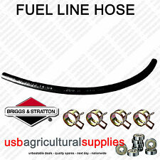 "FUEL HOSE LINE 18"" 1/4"" 6mm + 4 CLAMPS- GENUINE BRIGGS & STRATTON RUBBER + CLIPS"