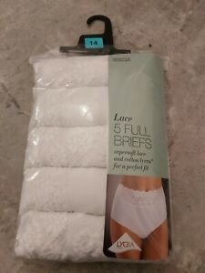 Knickers M&S COLLECTION 5 Pack Cotton Rich Lace Full Brief Knickers Size 14