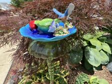 Bottle Yard Art With Blue bird, Vintage Green Glass and Ceramic Blue Flower Plat