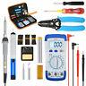 LIUMY 60W 10Pcs Tips Electronic Soldering Iron Kit Adjustable Temp Welding