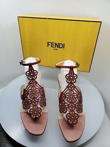 Fendi Women's Floral Laser Cut Flat Burgundy and Pink Thong Sandal, Size 41- NEW