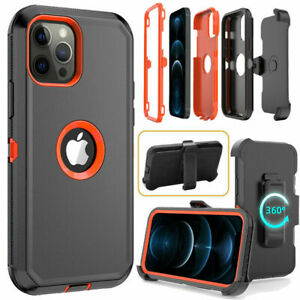 For iPhone 12/12 Pro Max Shockproof Defender Case With Stand Belt Clip Holster