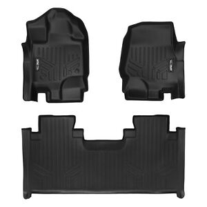 SmartLiner Custom Floor Mats for Ford F150 SuperCab with Front Bench Seat Black