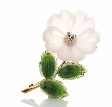 Antique Deco 14k Gold Rock Crystal Jade Diamond Flower Brooch Austria 52617125