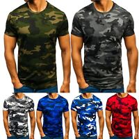 Mens Camo Short Sleeve Camouflage Military T-Shirt Slim Fit Army Combat Tops Tee
