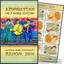 L'Azerbaïdjan Azerbaijan Europe CEPT 2014, instruments de musique, markenheftchen **