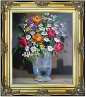 Framed Quality Hand Painted Oil Painting, Vase with Floral Still Life, 20x24in
