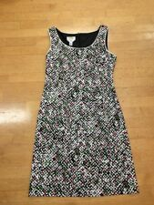 Talbots Black And White Pink And Green Stretch Cotton Dress Size 10P