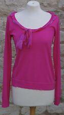 Armani Fuschia Pink Top - Silk (scarf) Detail around neckline UK Size 12 Office