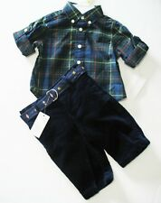 Ralph Lauren Baby Boys Long Sleeve Plaid Shirt & Pants Set Green Multi Sz 3m-