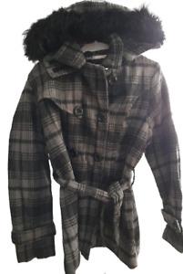 Women Ladies Winter Warm Coat Fur Collar Hooded Jacket Size UK 8-10