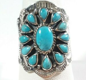 925 STERLING SILVER INTRICATE ETCHED FLOWER BLUE TURQUOISE SIZE 10 RING