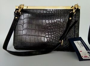 M & S Collection-Women's Croc Style Black Shoulder Bag (New with tags)