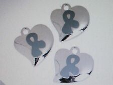 12 HEART CHARMS diabetes asthma cancer GREY GRAY AWARENESS RIBBON Nice