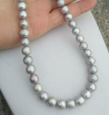 (x) real photos 18inch 9-10 mm natural south sea Gray pearl necklace 14kclasp
