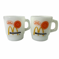 Vintage Anchor Hocking Milk Glass McDonald's Good Morning 2 Coffee Mugs Cups