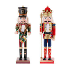 30cm Wooden Nutcracker King Drummer Solider Figurine Puppet Christmas Gifts