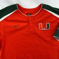 Vintage 2000s University Of Miami NCAA Baseball Henley Nike Sz M UM Hurricanes