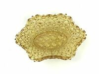 """Vintage Amber Daisy And Button Depression Glass 5"""" Oval Shaped Candy Nut Dish"""