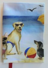 Fabric Paperback Book Cover Dog at the Ocean Doggy Swim Dogs Puppy Standard Size