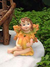 Miniature FAIRY Garden HALLOWEEN Fall THANKSGIVING Fairy Girl Figurine w Pumpkin